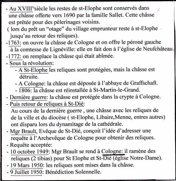 L'histoire des reliques de St Elophe ( II )