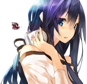 Wallpaper fille manga avec casque 2