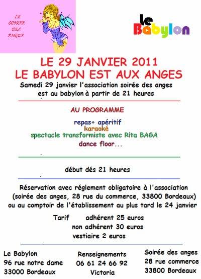 """L'association """"LA SOIREE DES ANGES """" au BABYLON le samedi 29 janvier 2011"""