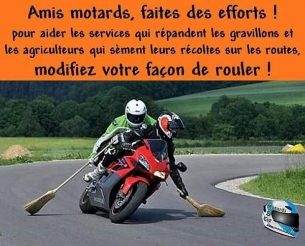 humour- motards, balayez les routes