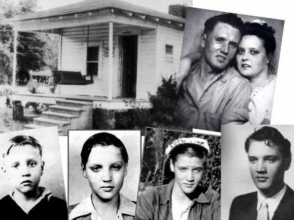 Elvis avec ses parents,devant la maison familiale.