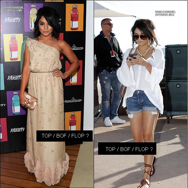 -  15 et 16 mai : Vanessa était dans plusieurs endroits différents à Cannes et à Nice, ce ne sont que des magnifiques TOP que nous voyons la. Qu'en pensez-vous ? TOP, BOF,FLOP les tenues ? -