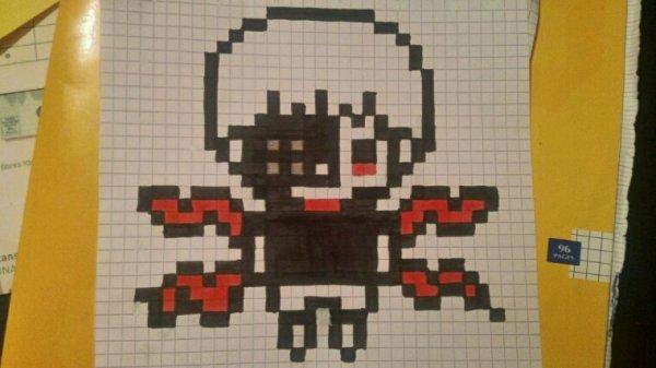 Ken Kaneki en pixel art By moi ^.^