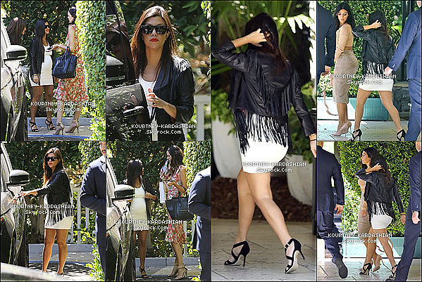 01/09/14 :  Kim et Kourtney se rendaient à Beverly Hills pour la baby shower d'Abbey Wilson.Cette petire robe va parfaitement à Ko' et j'aime vraiment beaucoup la veste cuir du style un peu  indien. TOP!