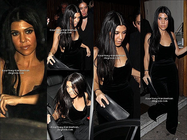 "22/01/16 : Kourt' quittant la boîte de nuit ""Nice Guy"" de West Hollywood pour l'anniv de Balthazar GettyTout simplement superbe dans sa combinaison toute de noir. Ses cheveux lachés et tout brillant. Sexy Kourtney, c'est un TOP !  POSTED BY CINDY ON JANUARY 24TH 2016"
