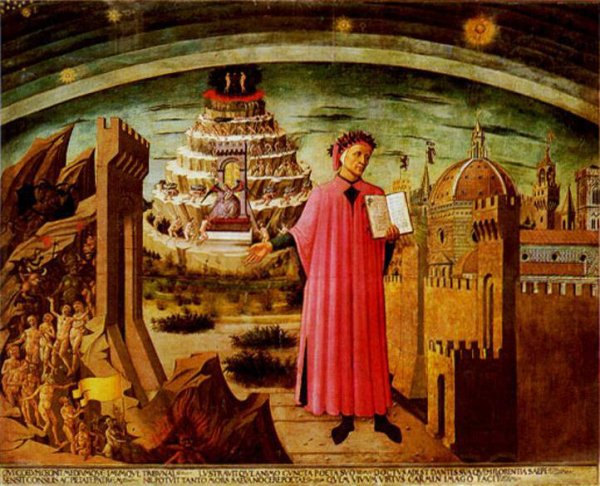 Dante devant le purgatoire de Michelino Fresco
