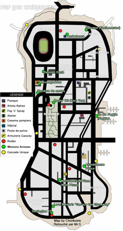 Localisation des Rodés,des Missions Annexes et des Sauts uniques de GTA LCS