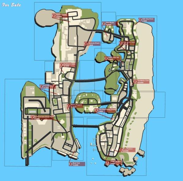 Carte des Propriétés à acheté (y  compris commerciales) de GTA Vice City