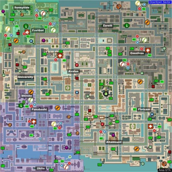 """Carte des vie, armures, """"étoiles"""",armes et bonus dans GTA 2"""