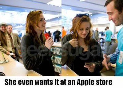 Kristen stewart appearing at an Apple store