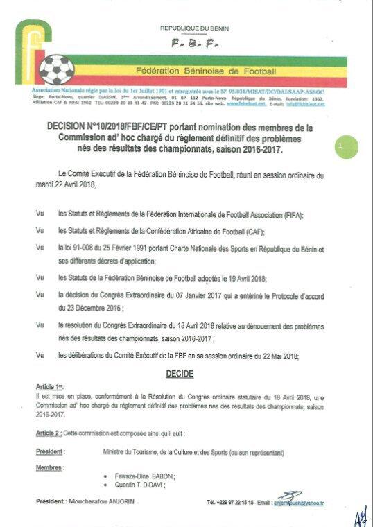 Bénin/FBF: Mise en place de la comission ad'hoc de règlement de litige