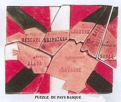 MOULIN A HUILE  1996  LES CLOWNS  PUZZLE DU DRAPEAU BASQUE ET DES PROVINCES