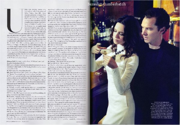Benedict Cumberbatch et Rebecca Halls dans le magazine Harper's Bazaar (octobre 2012) Pour lire les articles c'est ici et ici. Il n'y a pas encore de traduction disponible.