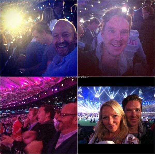 Benedict à la cérémonie de cloture des jeux Paralympique, le 9 septembre 2012, en compagnie de Charlie Miller et  de Jo Glynn-Smith.Flashback : Benedict a inauguré la cérémonie des Jeux Olympiques sur la BBC avec cette vidéo.