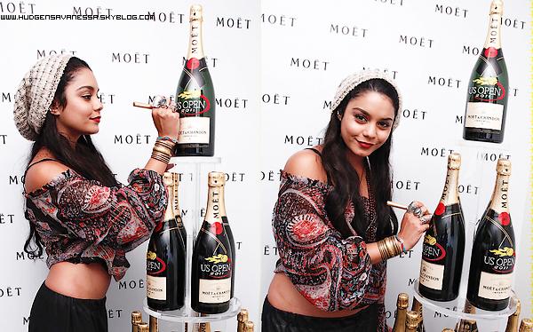 05 septembre 2011  ; Vanessa signe des bouteilles de la marque Moët.