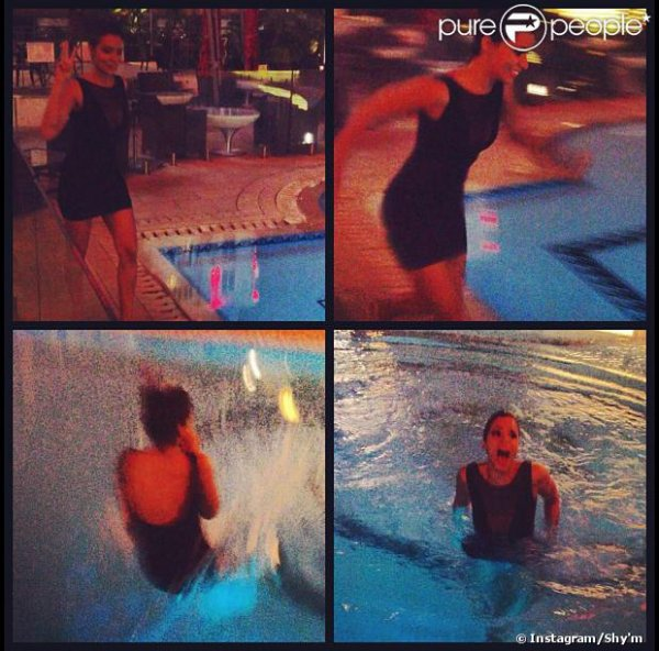 Shy'm avait dit que si elle gagner un Award elle sauterais dans une piscine habillé et elle la fait !!!