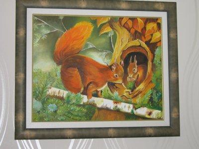Couple d'écureuils (33x41 disponible) peinture à l huile