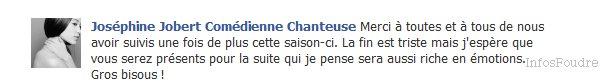 David Tournay Vien de poster Un petit message sur sont Facebook consernant La mort D'alex, et un petit message de josephine