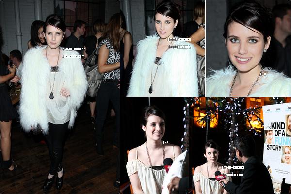 11.09.2010 ||Emma à la première de Toronto Film Festival pour « It's Kind of a Funny Story », Elle a également assisté à une fête par  Fox Searchlight et Zach Galifanakis a organisé une fête le soir même