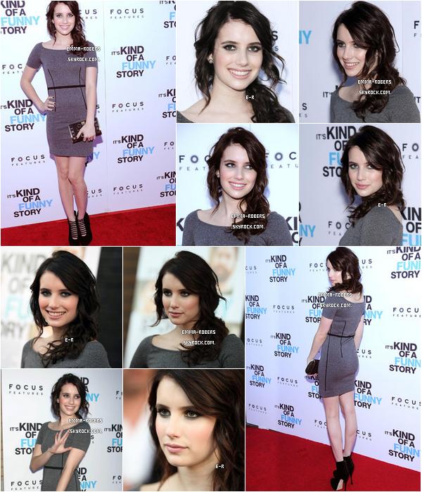 14 septembre 2010 : Emma a assisté à la première de « It's Kind of a Funny Story » à NY  OMG... elle est juste magnifique.Je trouve que c'est un  Top , simple et beau  j'aime beaucoup
