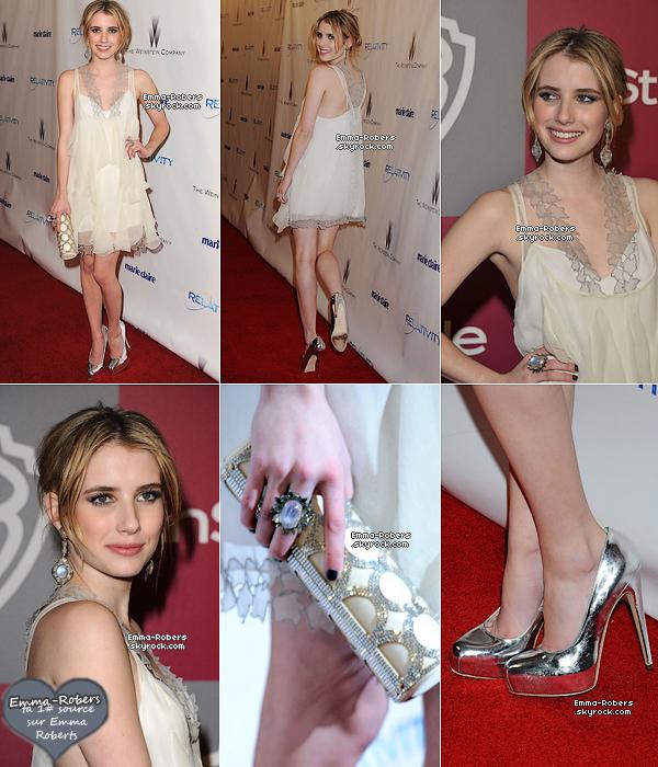 16 Janvier 2011 : Emma au Golden Globe 2011. Elle a assisté à l'After Party de InStyle & de Weinstein aussi. Emma est magnifique ! Un Big Top pour sa mini robe blanche ! j'adore et  toi ?
