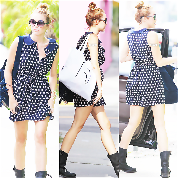4 JUIN ▬ Miley faisant du shooping à West Hollywood, CA. Que penses-tu de sa tenue ?
