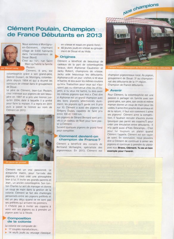 LA GAZETTE APRES DES MOIS DU TITRE DE CHAMPION FRANCE DES DEBUTANTS  UN REPORTAGE SUR UN JEUNE AMATEUR