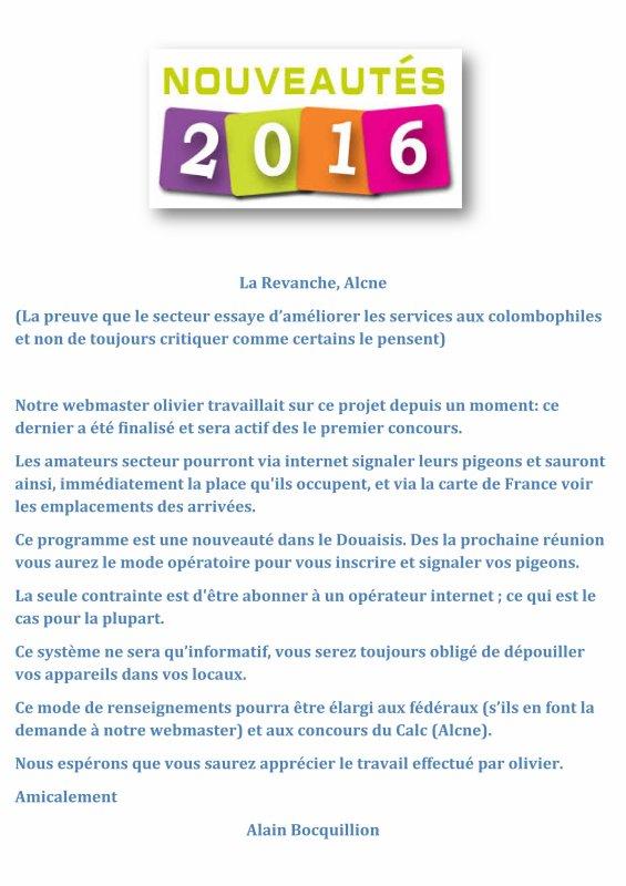 LA GAZETTE INFO NOUVEAUTES POUR 2016