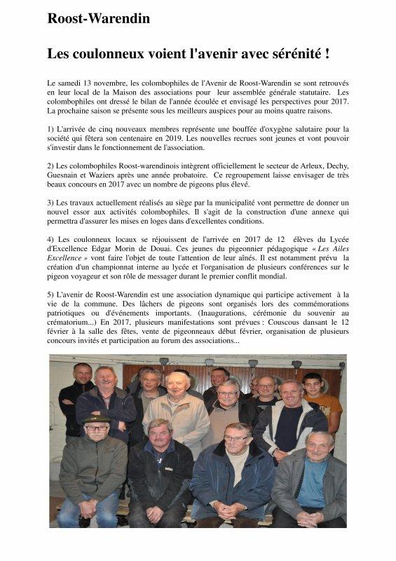 LA GAZETTE L'AVENIR DE ROOST WARENDIN