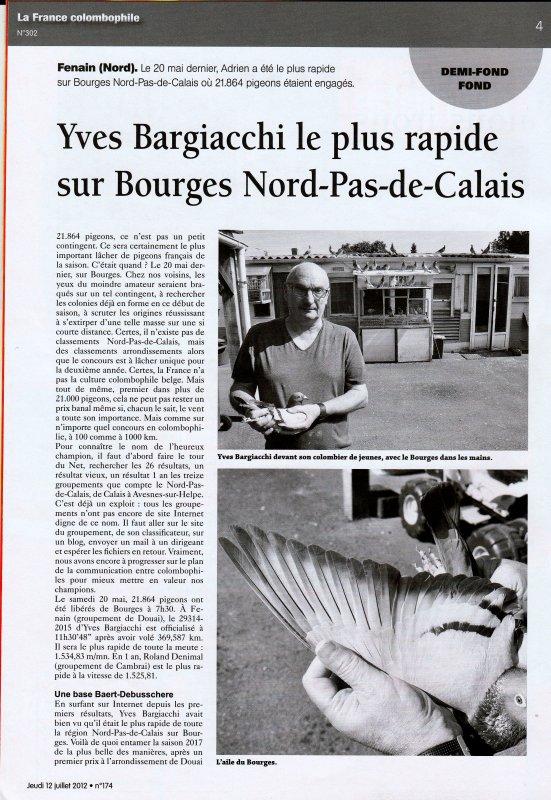 LA GAZETTE INFO REPORTAGE DE LA FRANCE COLOMBOPHILE CHEZ YVES BARGIACCHI