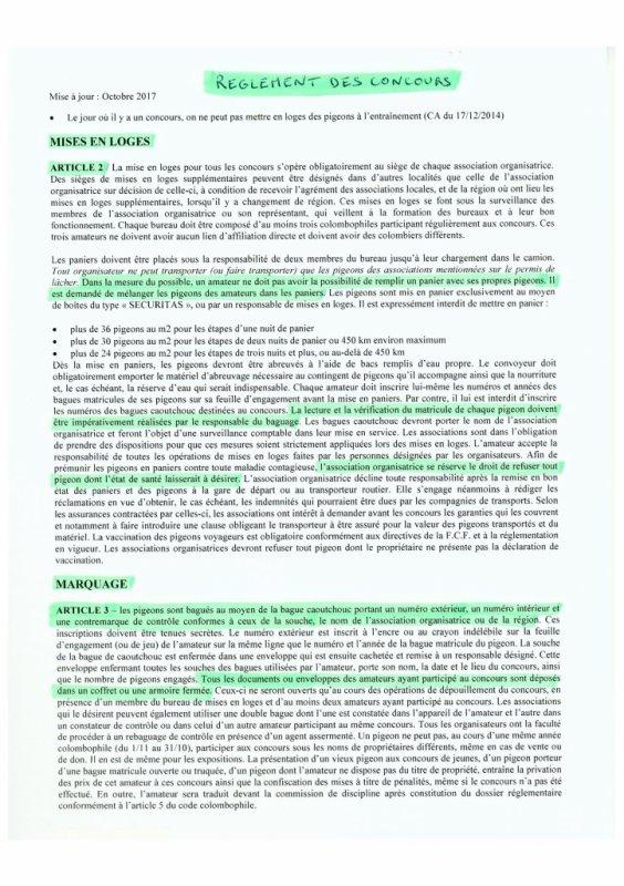 LA GAZETTE INFO REGLEMENT DES CONCOURS GROUPEMENT COLOMBOPHILE DE DOUAI 2018