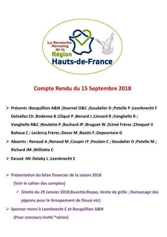 LA GAZETTE INFO LA REVANCHE COMPTE RENDU REUNION DU 15 SEPTEMBRE 2018