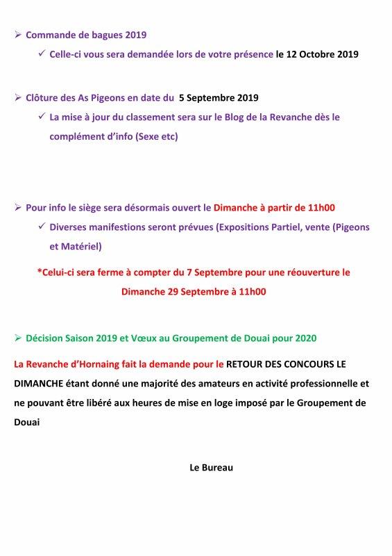 LA GAZETTE INFO LA REVANCHE COMPTE RENDU DU 7 SEPTEMBRE 2019