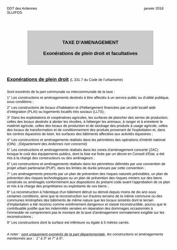 LA GAZETTE INFO CONCERNANT LA TAXE D'AMENAGEMENT POUR LES COLOMBIERS  2019