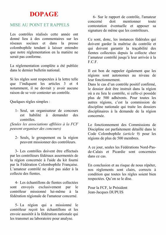LA GAZETTE INFO DOPAGE SUR LE SITE DE FCF  2019
