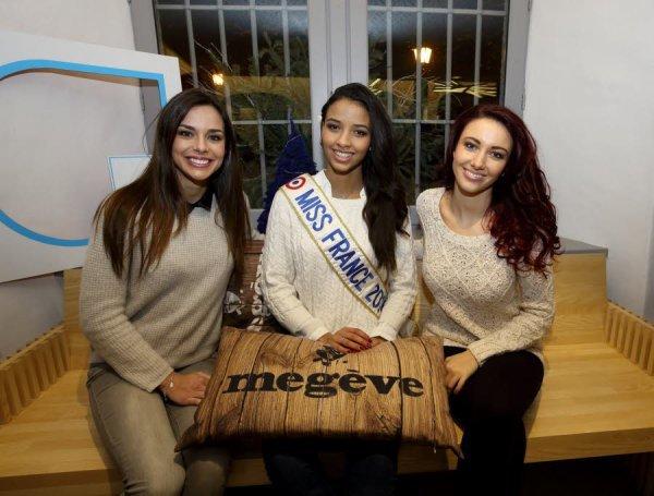 29 Janv. 2014 | Flora Coquerel, Marine Lorphelin et Delphine Wespiser, ont passer 5 jours à Megève pour le traditionnel voyage des Miss France.