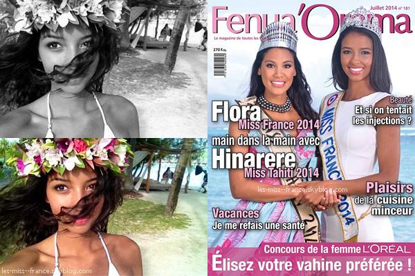 Flora et la nouvelle miss Tahiti, Hinarere Taputu font la une du magazine Fenua'Orama.
