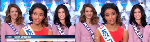 13 Nov. 2014 | Flora Coquerel et Sylvie Tellier étaient de passages dans le JT de 13h accompagnées des 33 candidates régionales.