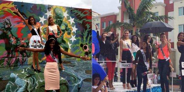 11 Janv. 2015 | Jour 5 - Camille et les autres candidates étaient en visite à l'atelier du peintre Romero Britto, suivie d'une grande parade des candidates dans les rues de Doral.