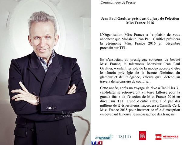INFORMATION -- Le président du jury de l'élection Miss France 2016 est...