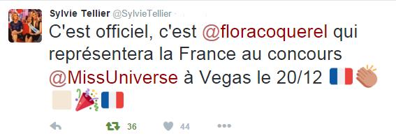 CONCOURS INTERNATIONAUX -- Flora Coquerel représentera la France à Miss Univers 2015 !