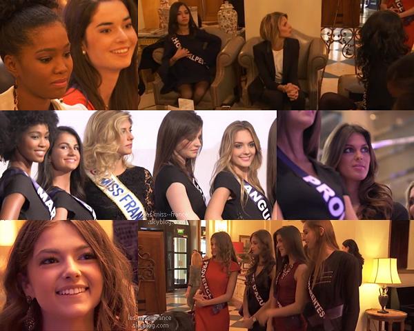 19 Nov. 2015 | Camille, Sylvie et les 31 candidates étaient à la conférence de presse Miss France.