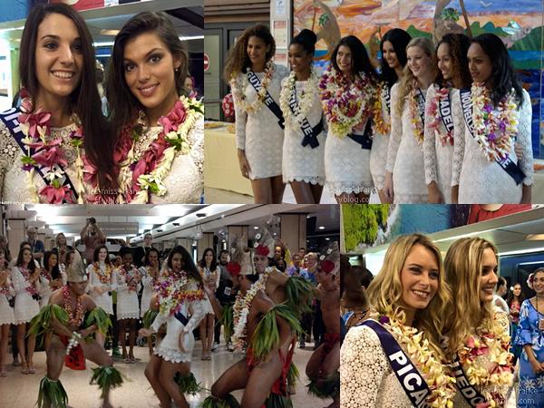 23 Nov. 2015 | Les 31 candidates ainsi que Camille et Sylvie sont arrivée à Tahiti + une photo dans l'avion