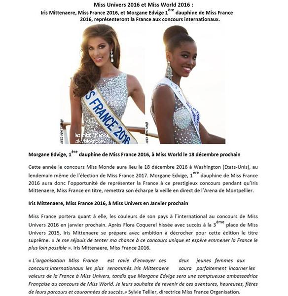 Nos deux représentantes aux concours Miss Univers et Miss World sont désormais connus !