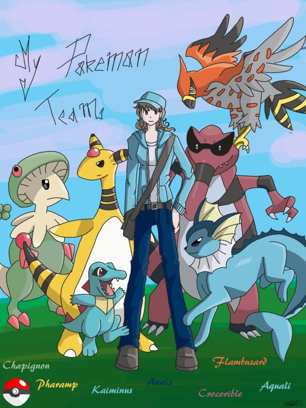 Ma team pokemon en dessin