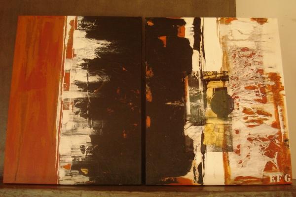 1.Titre : PORTE DOREE (technique mixte/photo/feuille d'or / Dimensions totales : 95X60 cm) 2009