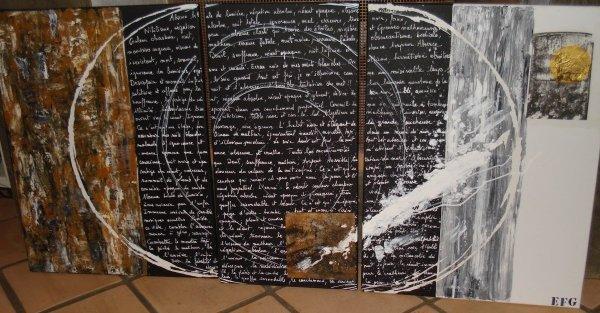 titre : VORTEX (triptyque /technique mixte/ dims totales : 160 X 80 cm)  TABLEAU VENDU
