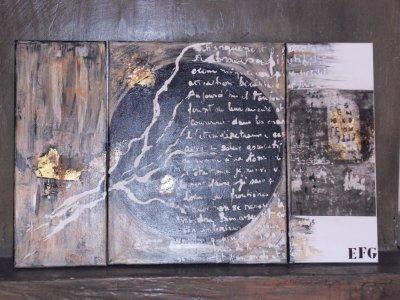 SOUS LA LUNE NOIRE        (tryptique 80X50cm) acrylique, feuilles d'or, photographie Avril 2011