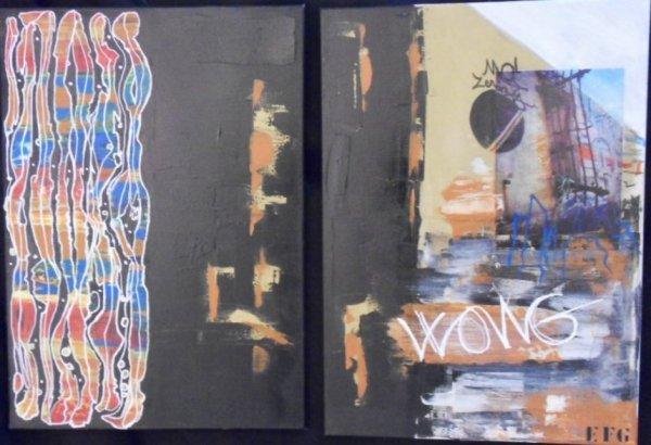 titre : WONG    format 70X100cm (acrylique et collage sur toile)