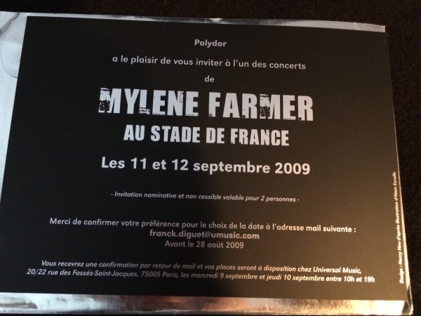 "INVITATION ""HOLOGRAMME"" Stade de France 2009"